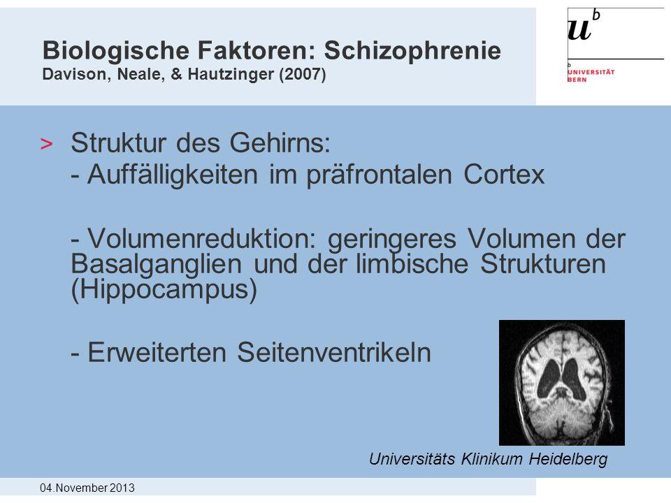 - Auffälligkeiten im präfrontalen Cortex