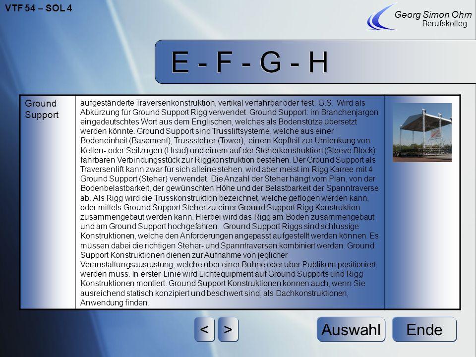 E - F - G - H < > Auswahl Ende VTF 54 – SOL 4 Georg Simon Ohm