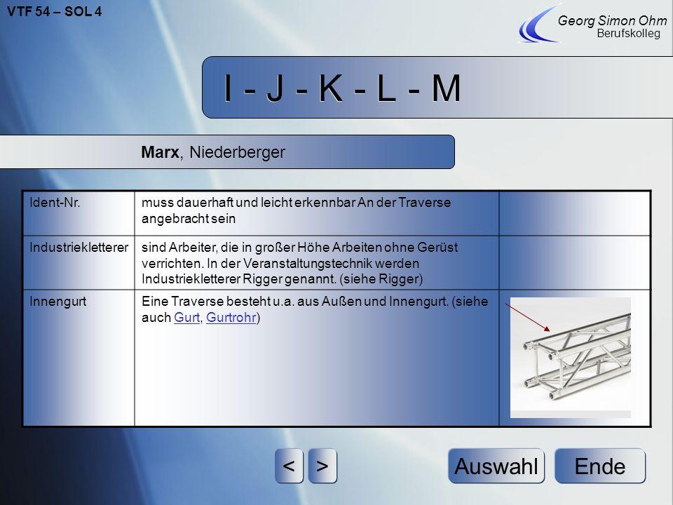 I - J - K - L - M < > Auswahl Ende Marx, Niederberger