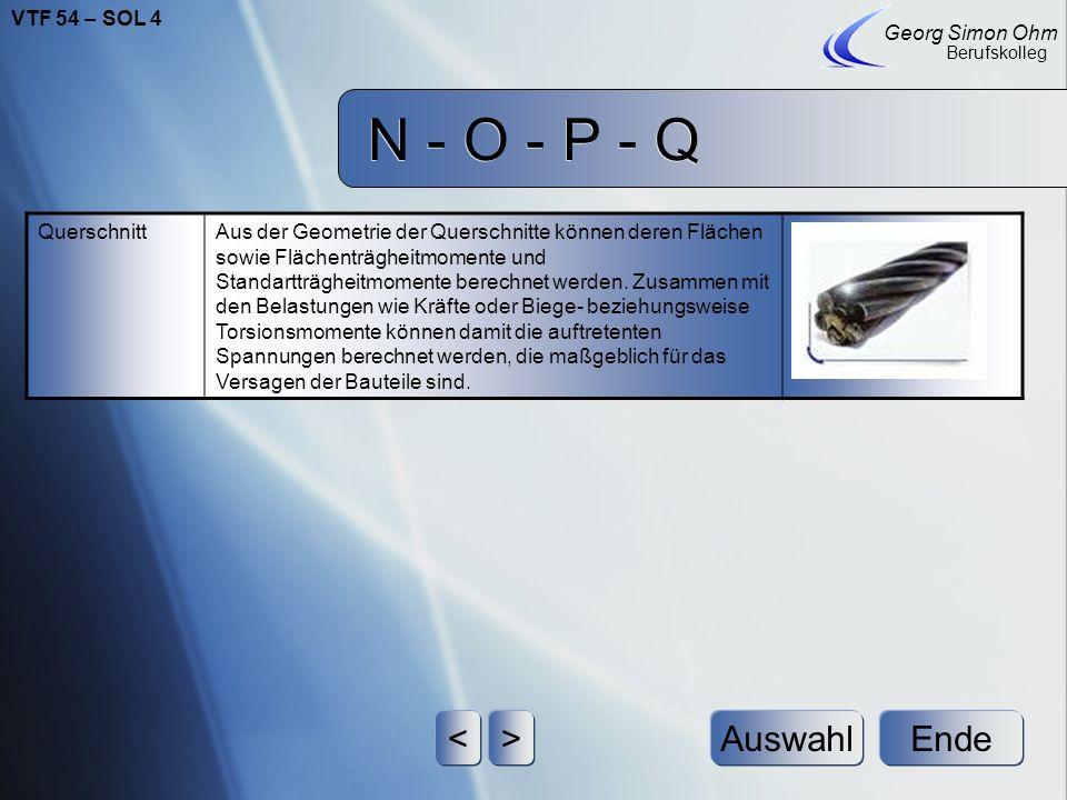 N - O - P - Q < > Auswahl Ende VTF 54 – SOL 4 Georg Simon Ohm