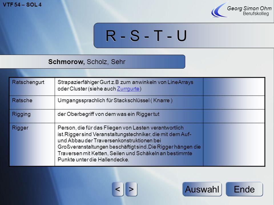 R - S - T - U < > Auswahl Ende Schmorow, Scholz, Sehr
