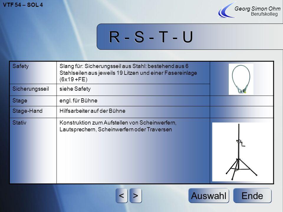 R - S - T - U < > Auswahl Ende VTF 54 – SOL 4 Georg Simon Ohm