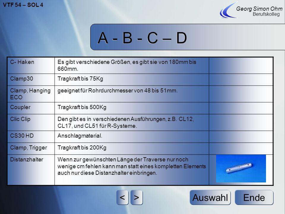 A - B - C – D < > Auswahl Ende VTF 54 – SOL 4 Georg Simon Ohm