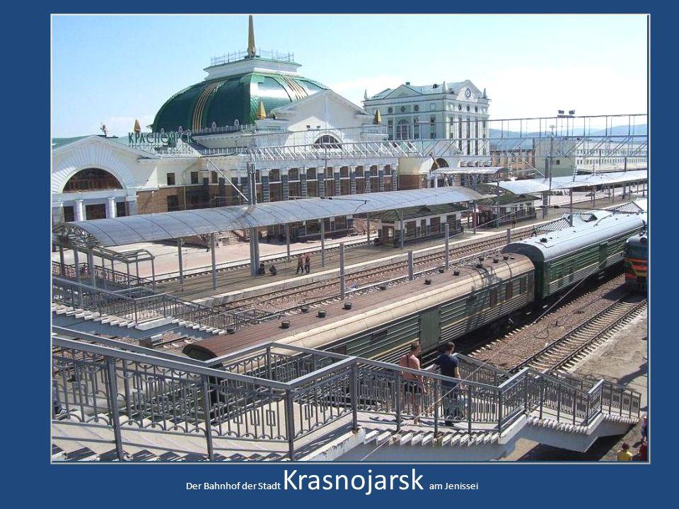 Der Bahnhof der Stadt Krasnojarsk am Jenissei