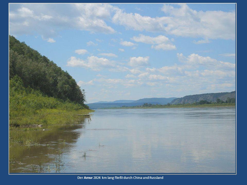 Der Amur 2824 km lang fließt durch China und Russland