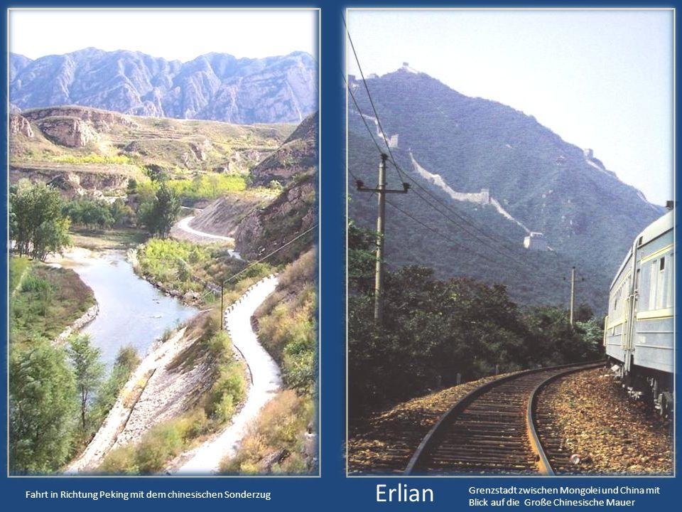 Erlian Grenzstadt zwischen Mongolei und China mit Blick auf die Große Chinesische Mauer.