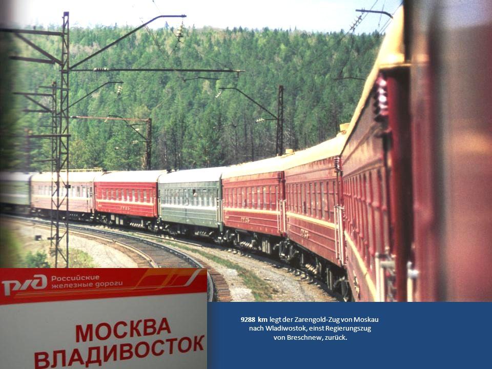 9288 km legt der Zarengold-Zug von Moskau nach Wladiwostok, einst Regierungszug