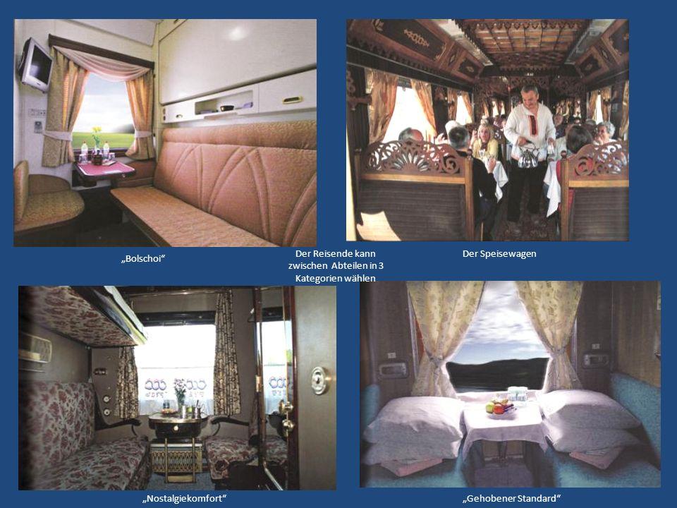 Der Reisende kann zwischen Abteilen in 3 Kategorien wählen