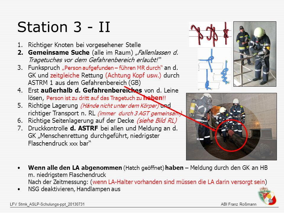 Station 3 - II Richtiger Knoten bei vorgesehener Stelle