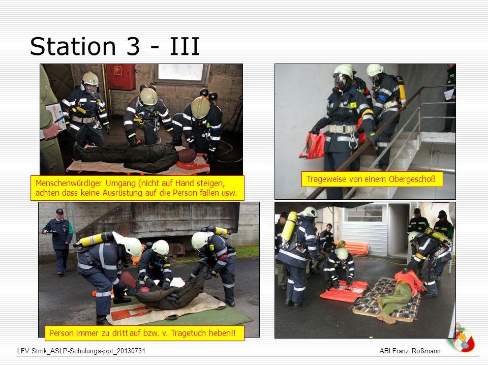 Station 3 - III Trageweise von einem Obergeschoß