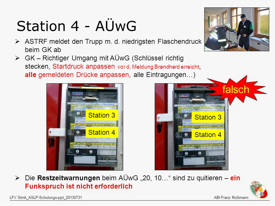 Station 4 - AÜwG ASTRF meldet den Trupp m. d. niedrigsten Flaschendruck beim GK ab.