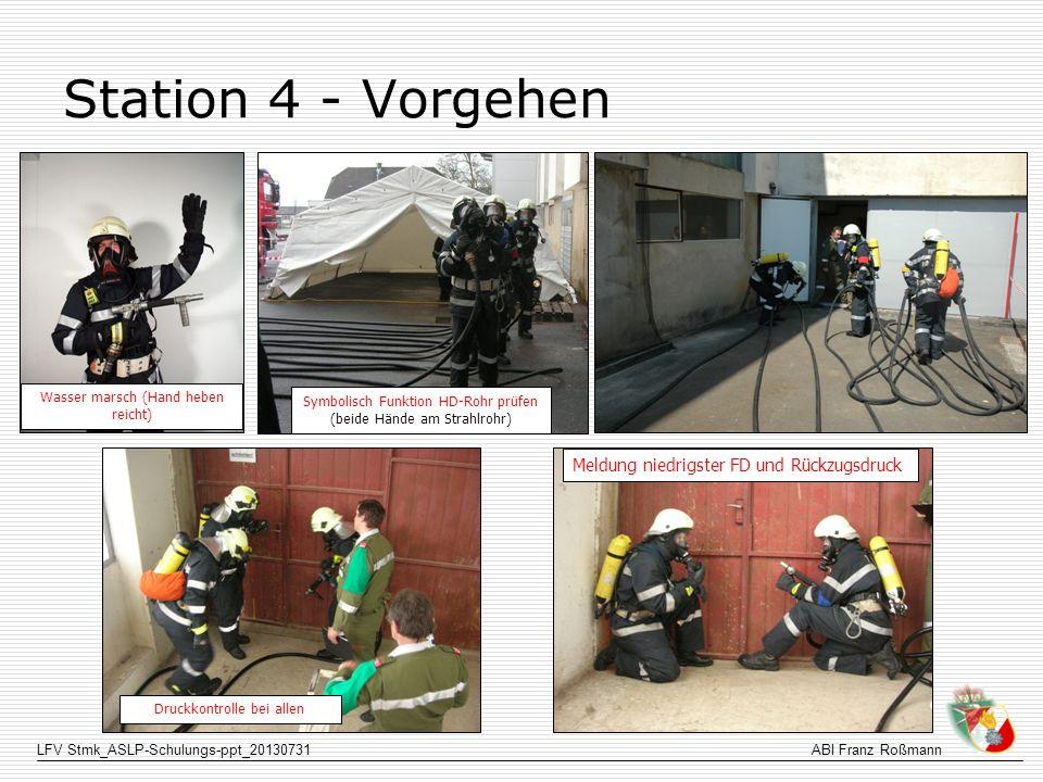 Station 4 - Vorgehen Meldung niedrigster FD und Rückzugsdruck