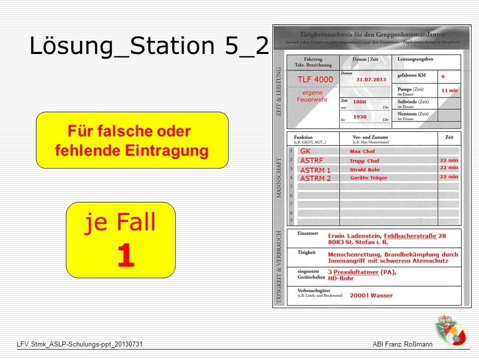 Lösung_Station 5_2 Für falsche oder fehlende Eintragung je Fall 1