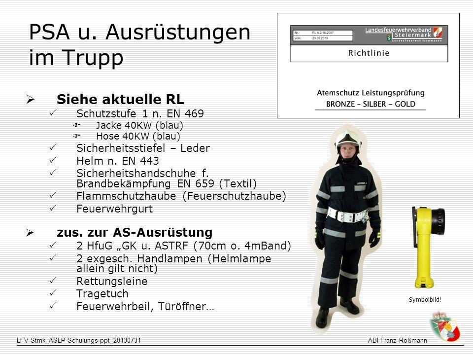 PSA u. Ausrüstungen im Trupp