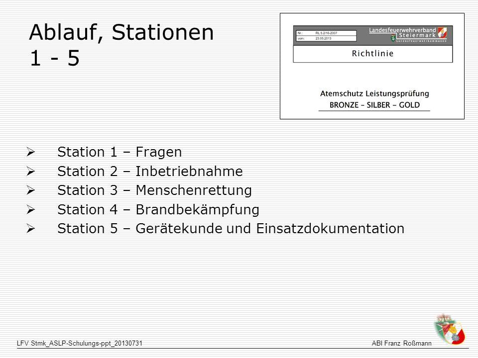 Ablauf, Stationen 1 - 5 Station 1 – Fragen Station 2 – Inbetriebnahme