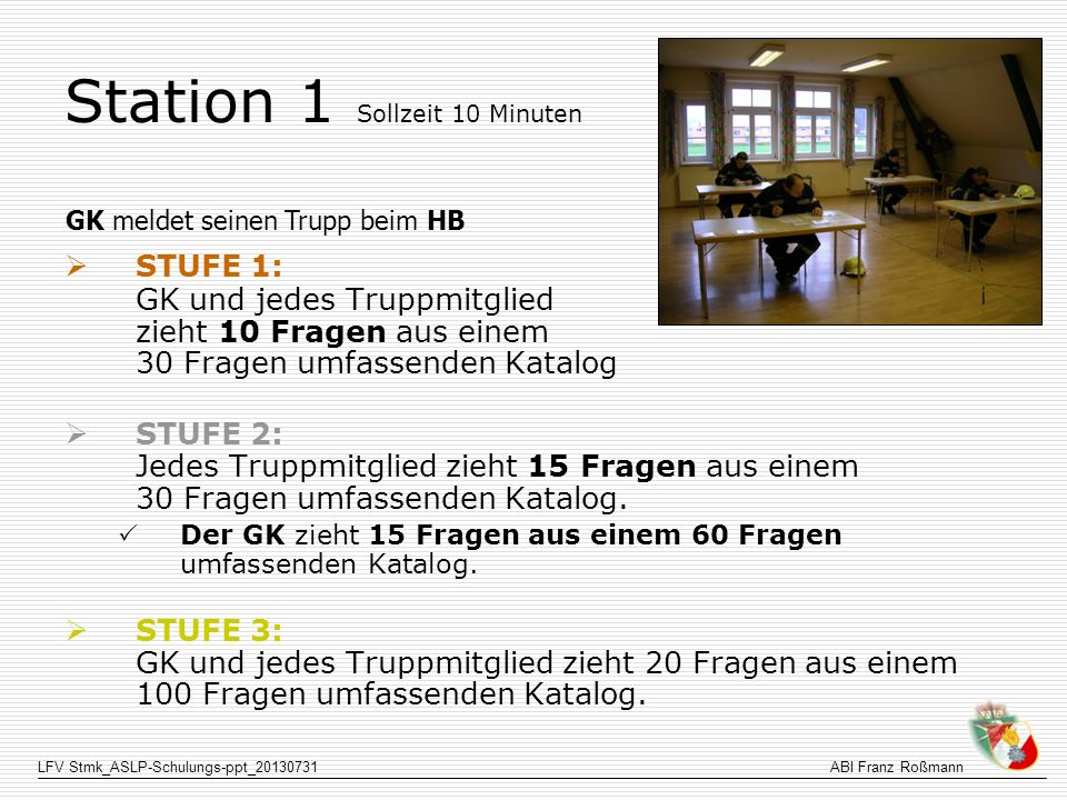 Station 1 Sollzeit 10 Minuten