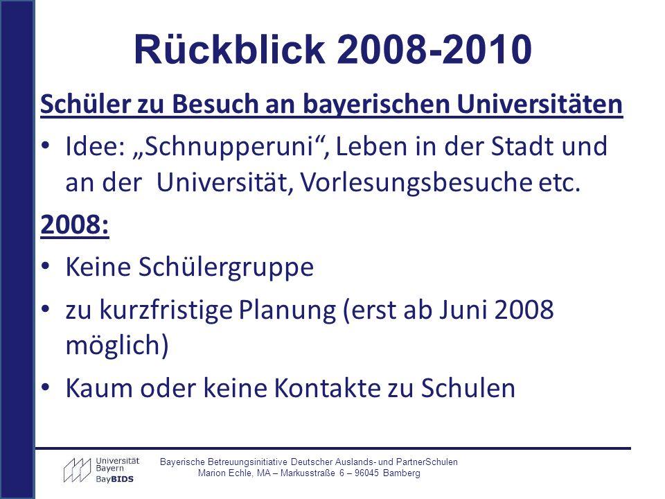 Rückblick 2008-2010 Schüler zu Besuch an bayerischen Universitäten