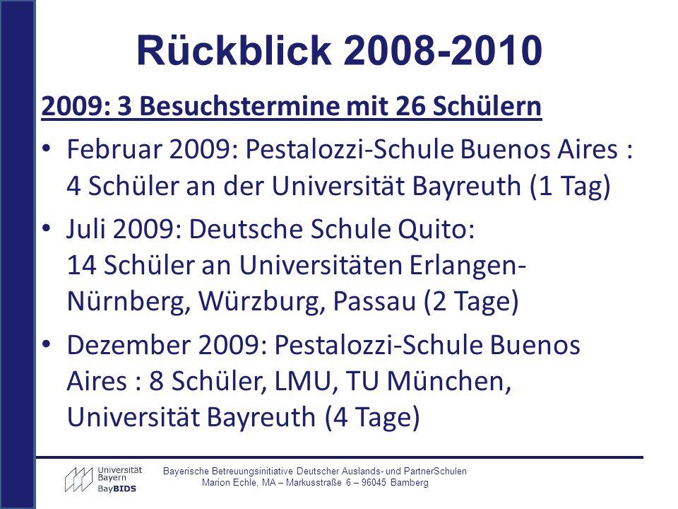 Rückblick 2008-2010 2009: 3 Besuchstermine mit 26 Schülern