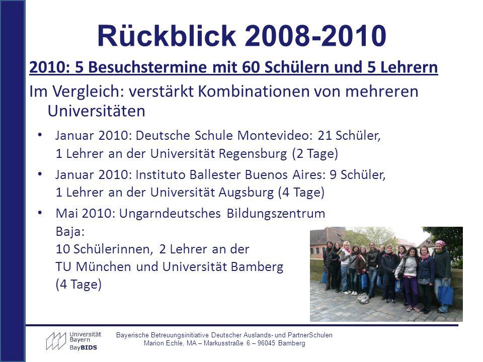 Rückblick 2008-2010 2010: 5 Besuchstermine mit 60 Schülern und 5 Lehrern Im Vergleich: verstärkt Kombinationen von mehreren Universitäten