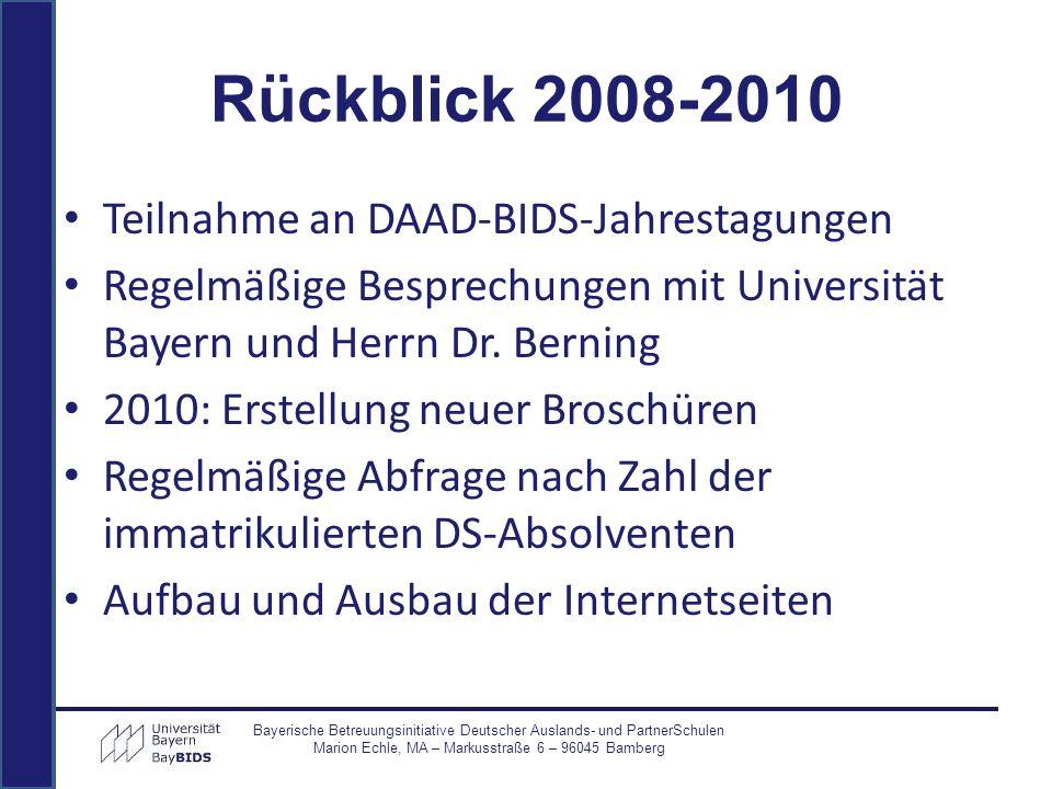 Rückblick 2008-2010 Teilnahme an DAAD-BIDS-Jahrestagungen