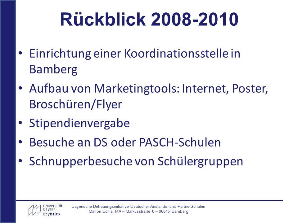 Rückblick 2008-2010 Einrichtung einer Koordinationsstelle in Bamberg