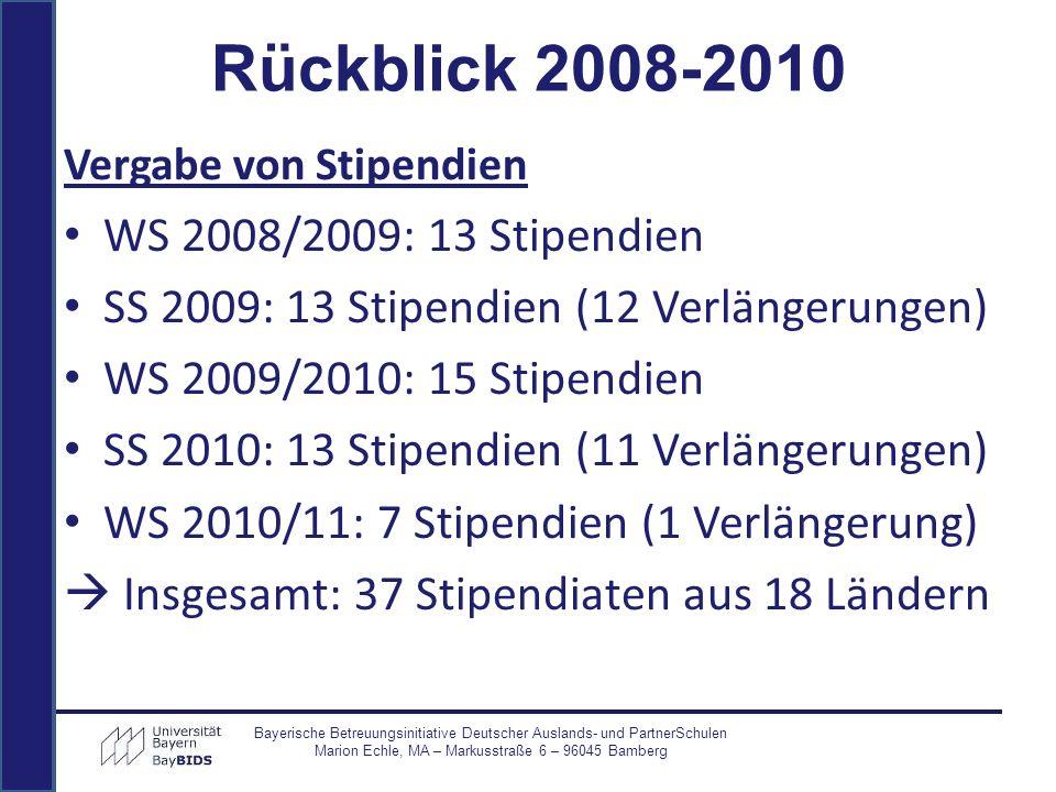 Rückblick 2008-2010 WS 2008/2009: 13 Stipendien