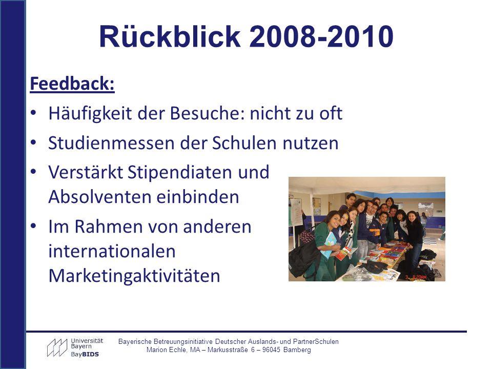 Rückblick 2008-2010 Feedback: Häufigkeit der Besuche: nicht zu oft