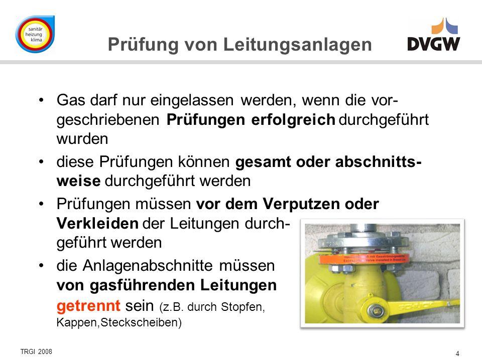 Gas darf nur eingelassen werden, wenn die vor-geschriebenen Prüfungen erfolgreich durchgeführt wurden