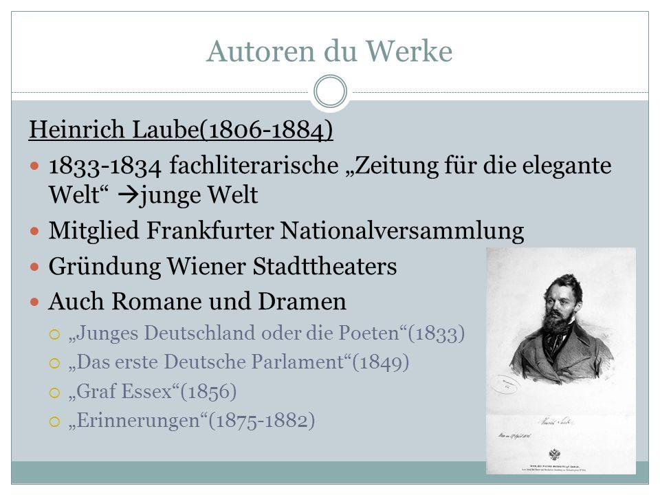 Autoren du Werke Heinrich Laube(1806-1884)