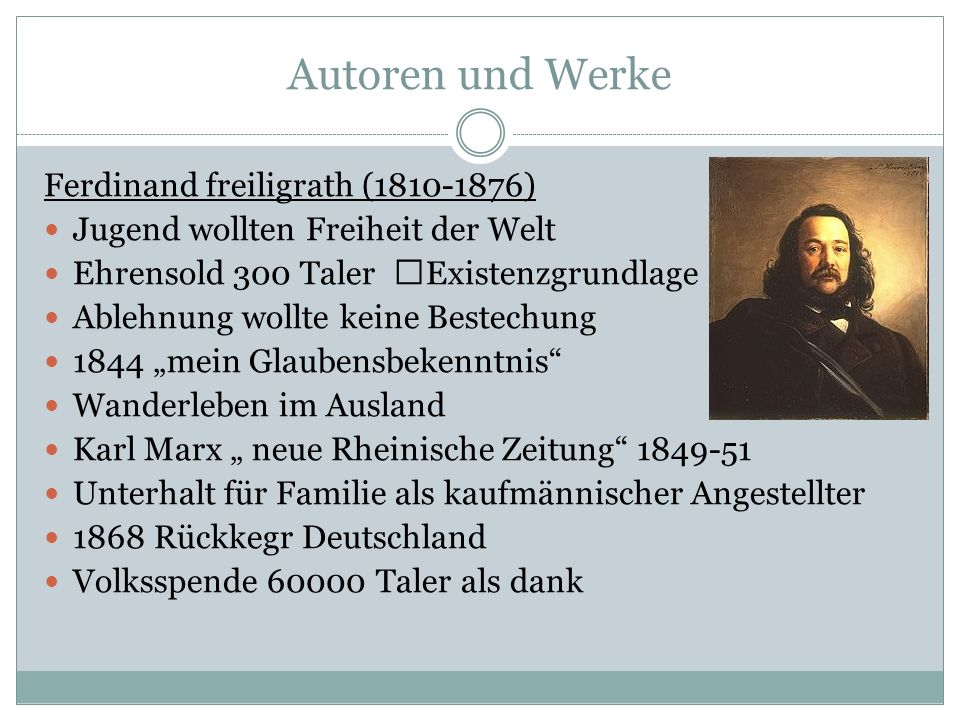 Autoren und Werke Ferdinand freiligrath (1810-1876)