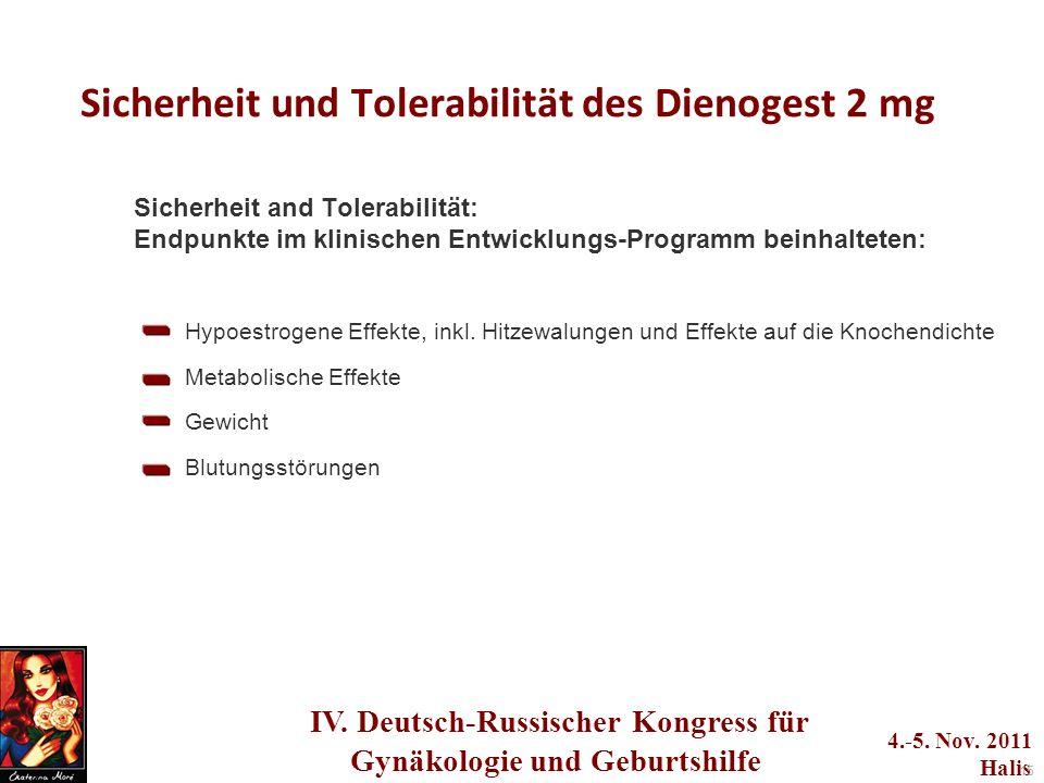 Sicherheit und Tolerabilität des Dienogest 2 mg