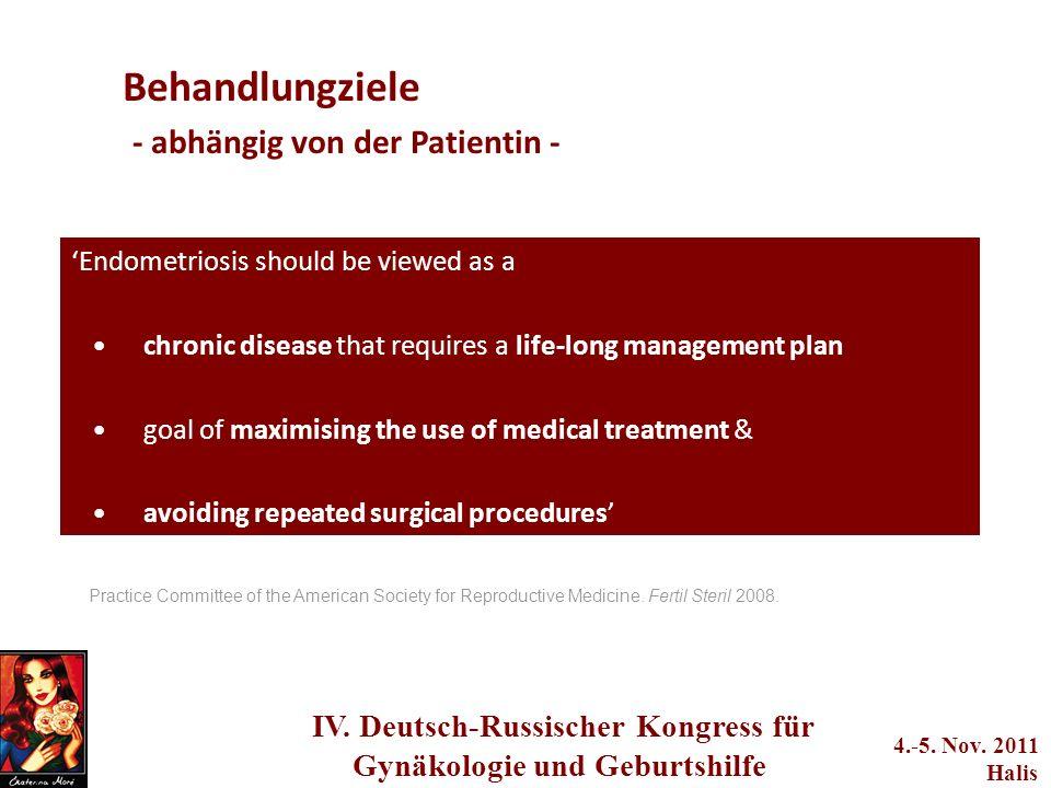 Behandlungziele - abhängig von der Patientin -