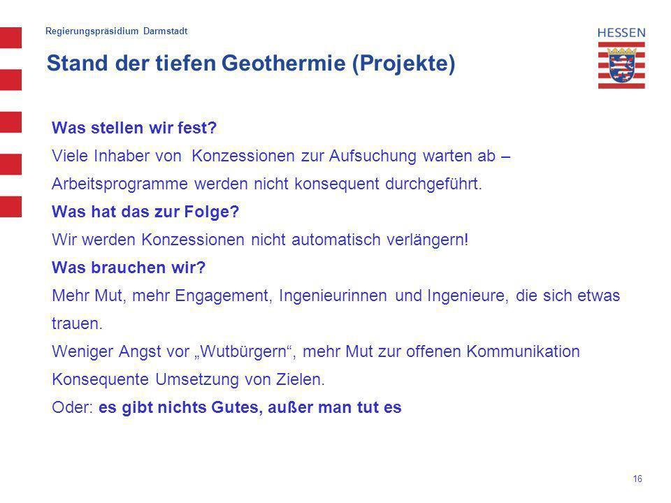 Stand der tiefen Geothermie (Projekte)