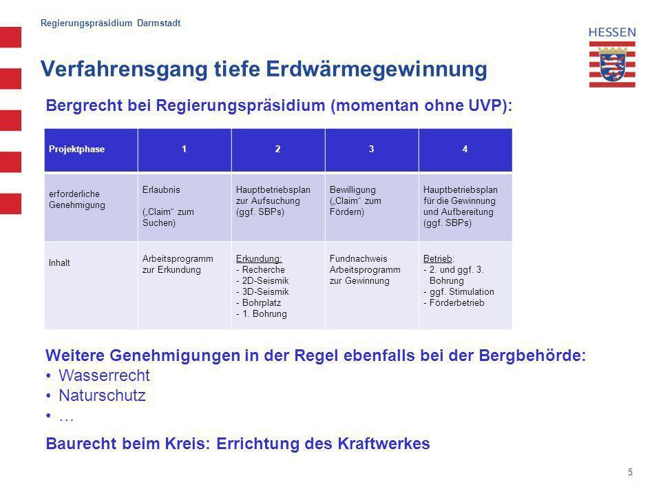 Regierungspräsidium Darmstadt Verfahrensgang tiefe Erdwärmegewinnung