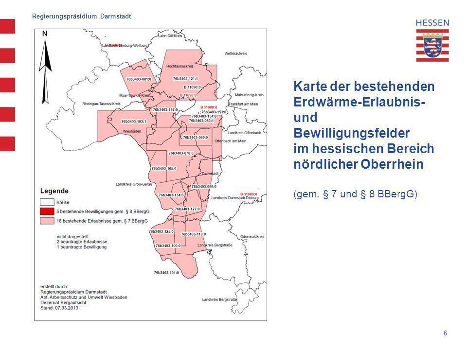 Karte der bestehenden Erdwärme-Erlaubnis- und Bewilligungsfelder