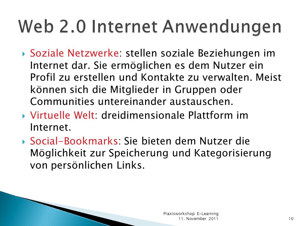 Web 2.0 Internet Anwendungen