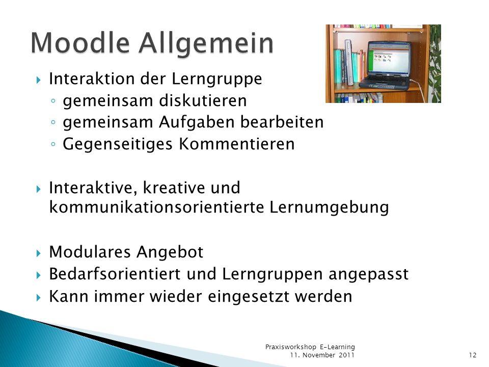 Moodle Allgemein Interaktion der Lerngruppe gemeinsam diskutieren