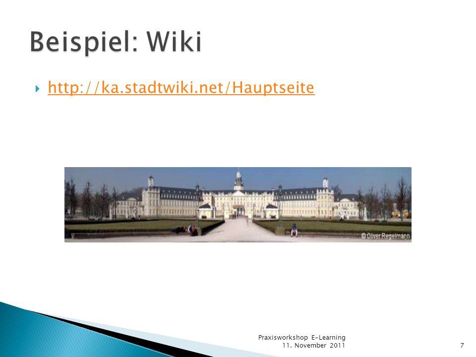 Beispiel: Wiki http://ka.stadtwiki.net/Hauptseite