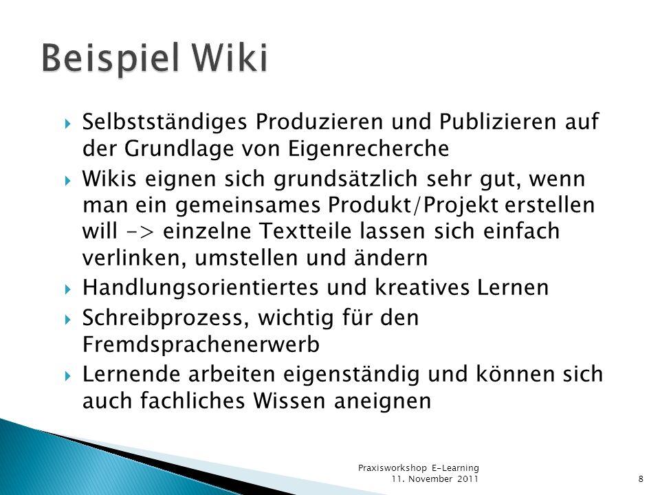 Beispiel Wiki Selbstständiges Produzieren und Publizieren auf der Grundlage von Eigenrecherche.
