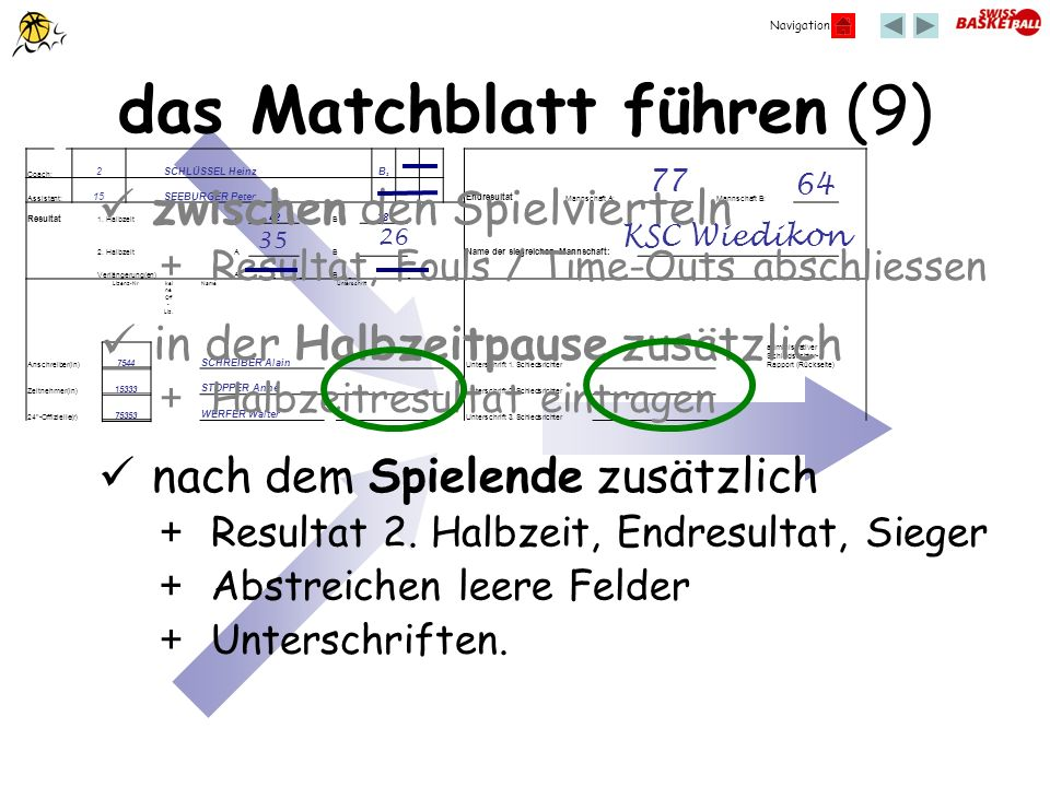 das Matchblatt führen (9)