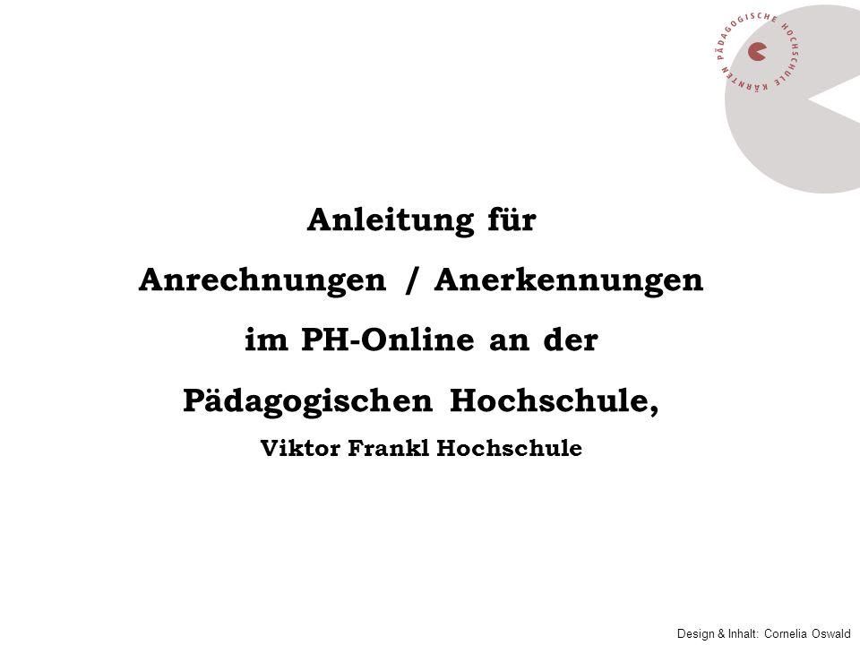 Anrechnungen / Anerkennungen im PH-Online an der