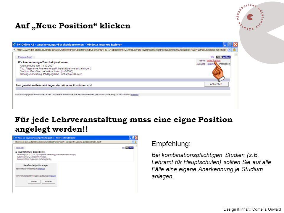"""Auf """"Neue Position klicken"""