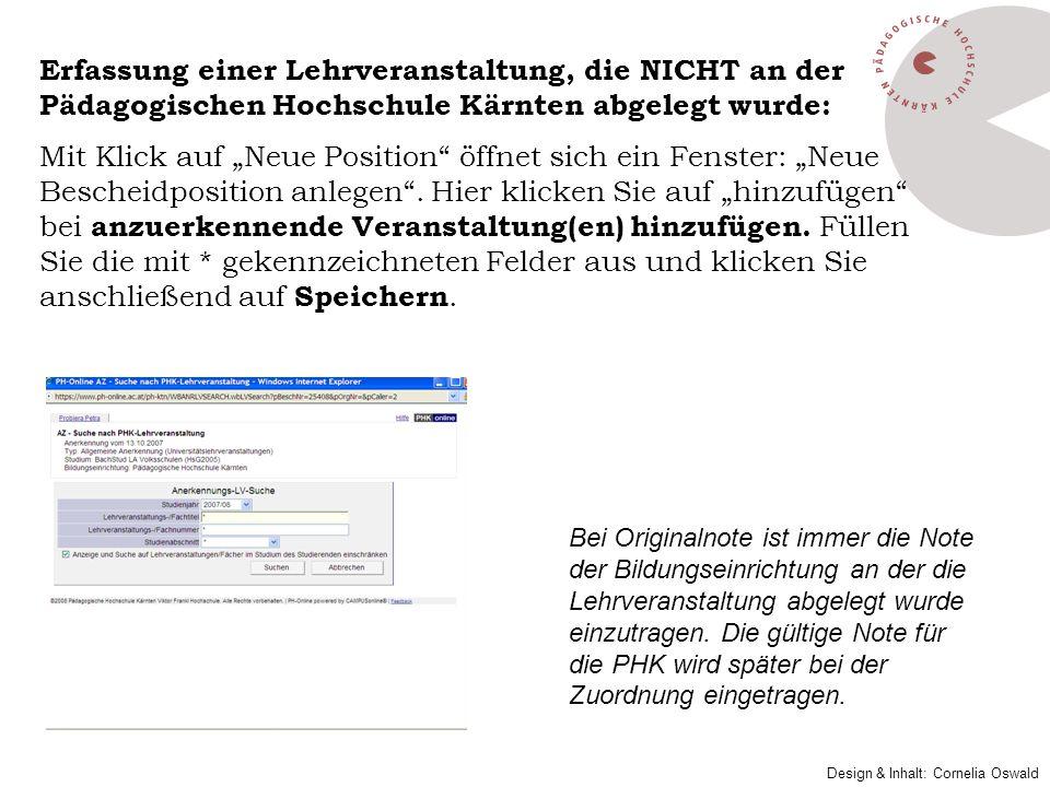Erfassung einer Lehrveranstaltung, die NICHT an der Pädagogischen Hochschule Kärnten abgelegt wurde: