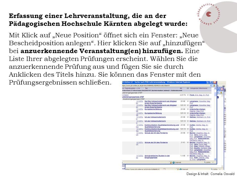 Erfassung einer Lehrveranstaltung, die an der Pädagogischen Hochschule Kärnten abgelegt wurde: