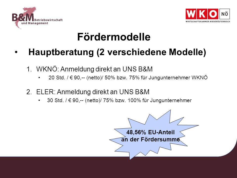 Fördermodelle Hauptberatung (2 verschiedene Modelle)