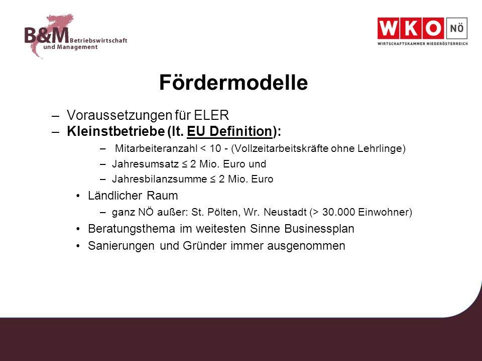Fördermodelle Voraussetzungen für ELER