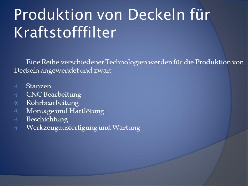 Produktion von Deckeln für Kraftstofffilter