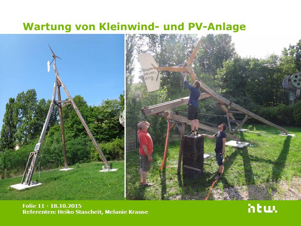 Wartung von Kleinwind- und PV-Anlage