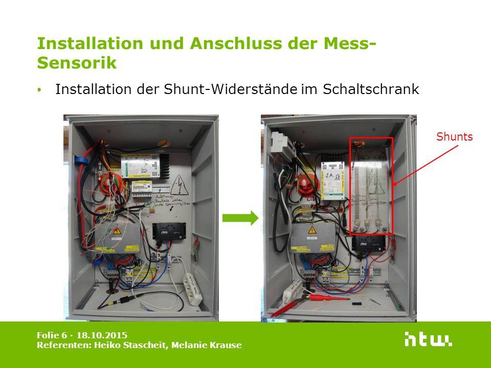 Installation und Anschluss der Mess-Sensorik