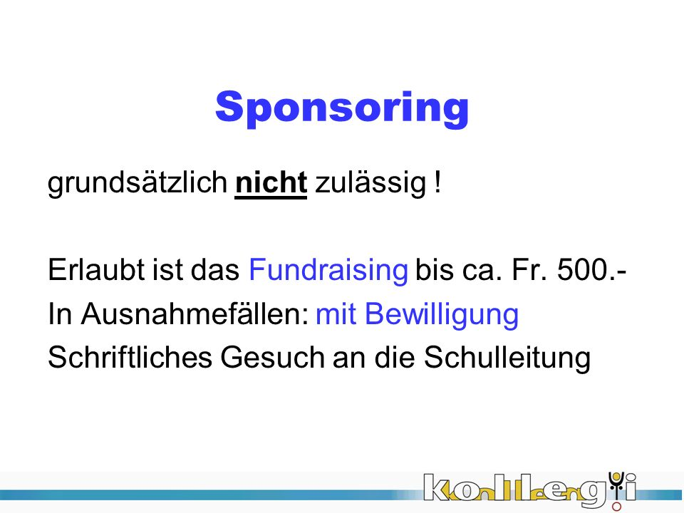 Sponsoring grundsätzlich nicht zulässig !